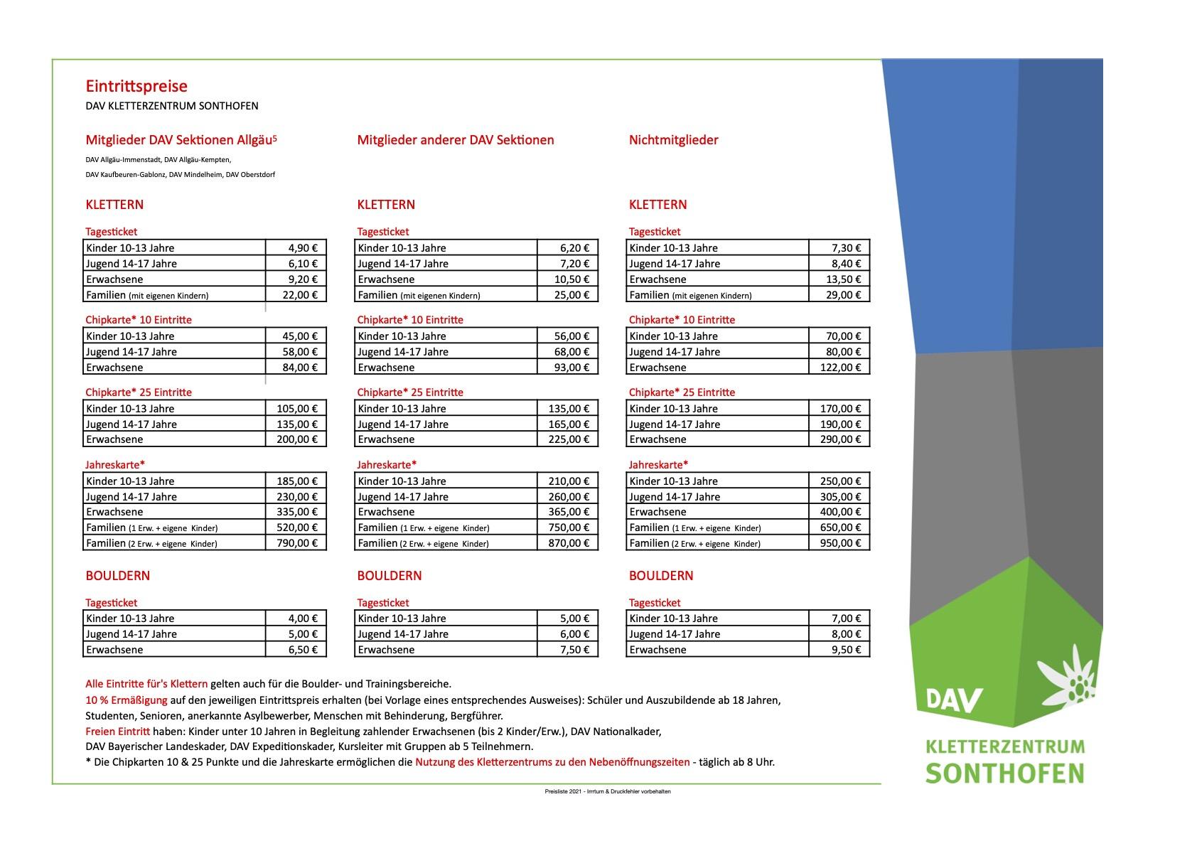 Eintrittspreise Kletterhalle Sonthofen März 2021